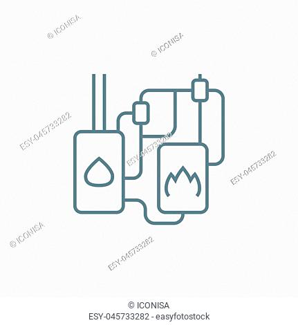 Heating system line icon, vector illustration. Heating system linear concept sign