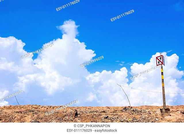 Traffic sign on sky background