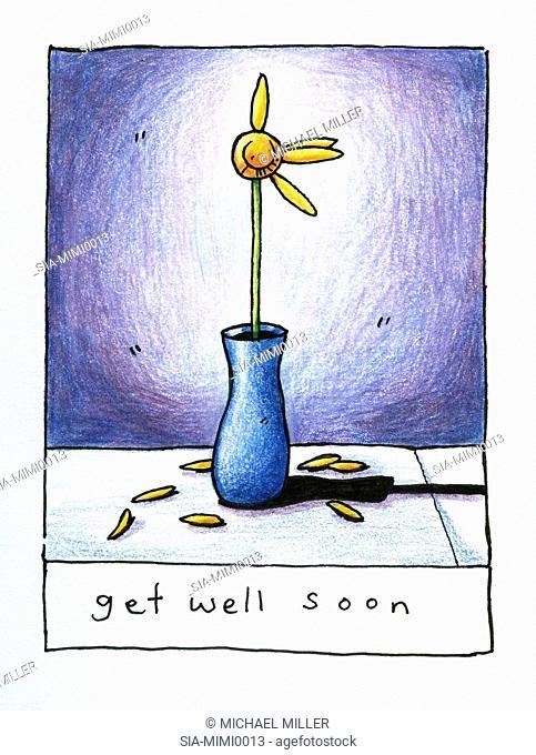 Fading flower in vase