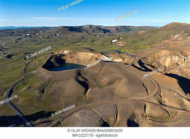 Aerial view, Stora Víti crater lake at the Krafla volcano, Krafla geothermal area, Mývatn or Myvatn, northern Iceland, Iceland, Europe
