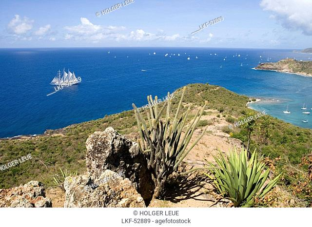 Star Clipper and English Harbour, View from Shirley Heights, Antigua