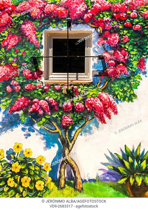 Painting, bougainvillea on the wall of a house. Mijas Costa, Malaga province, Costa del Sol, Andalusia, Spain Europe