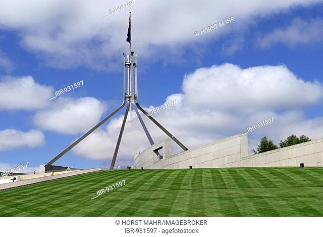 New House of Parliament, detail with flagpole, Canberra, Australia