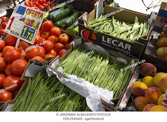 Farmers market with various domestic colorful fresh fruits and vegetable