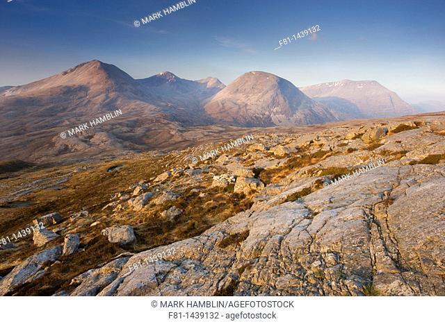 Beinn Eighe National Nature Reserve, view from Leathad Buidhe to Spidean Coire nan Clach, Ruadh-stac Beag and Ruadh-stac Mor, Torridon, northwest Scotland
