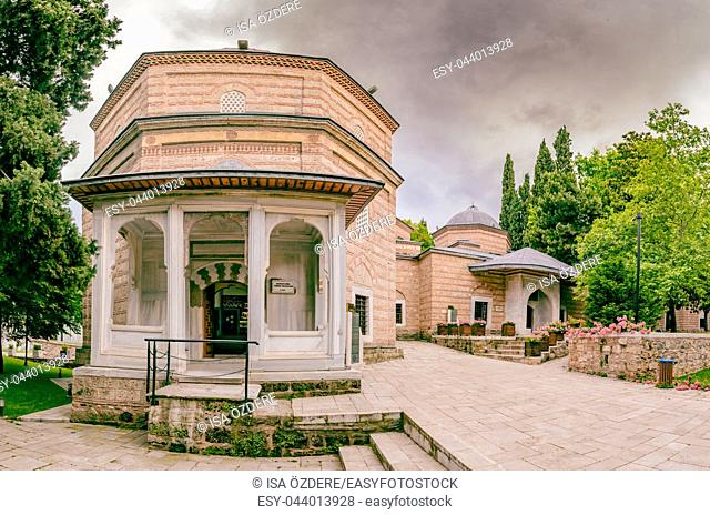 Exterior of view of shahzada(prince) Ahmed tomb, mausoleum at Muradiye complex or Complex of Sultan Murad II in Bursa,Turkey. 20 May 2018