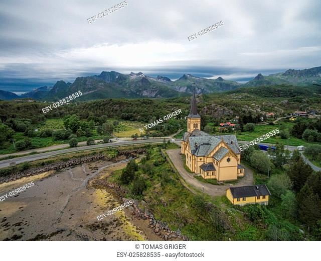 Aerial view of Lofoten cathedral in Norway, popular tourist destination