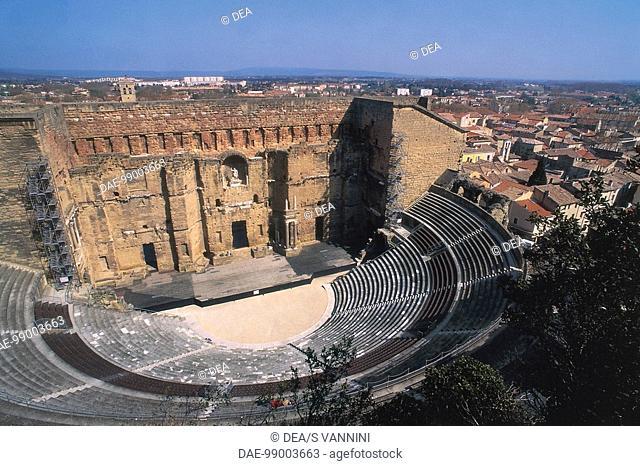 France - Provence-Alpes-Côte d'Azur - Orange, Vaucluse. Roman theatre (1st century A.D.). Panoramic view