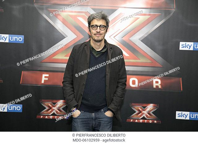 Italian anchormen Pif (Pierfrancesco Diliberto) attend at photocall of the final night of the talent show X-Factor 2018 at the Assago Forum