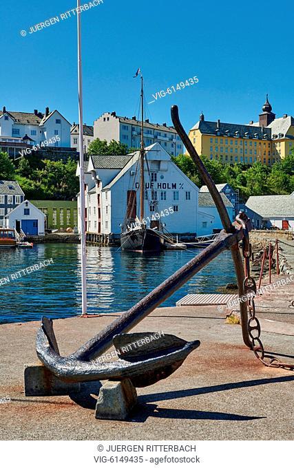 NORWAY, ÅLESUND, 30.06.2018, anchor at entrance of old harbor, Ålesund, Norway, Europe - Ålesund, Møre og Romsdal, Norway, 30/06/2018