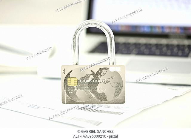 Credit card and lock representing internet security