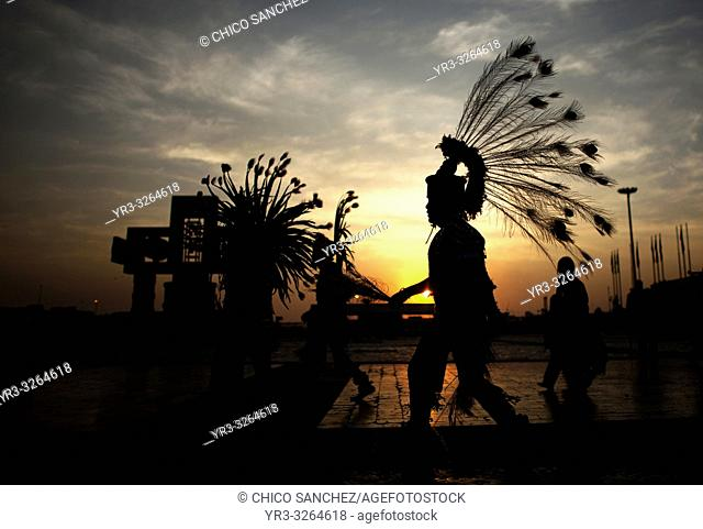 Dancers perform a dance to Mesoamerican goddess Tonantzin, meaning Our Mother in Nahuatl, during the annual pilgrimage to the Basilica of Our Lady of Guadalupe