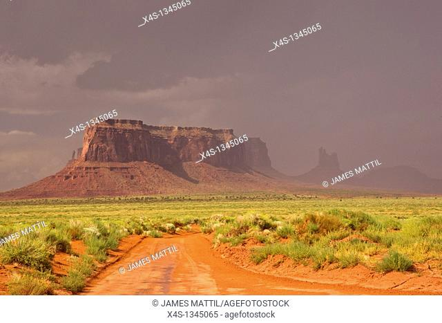 A thunderstorm passes through iconic Monumeny Valley