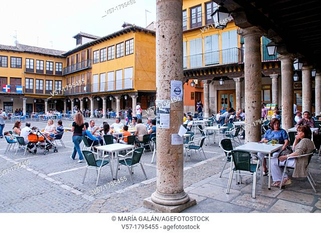 People sitting on terraces at Main Square. Tordesillas, Valladolid province, Castilla Leon, Spain