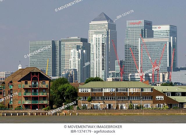 View from Greenwich to the Docklands, London, England, United Kingdom, Europe