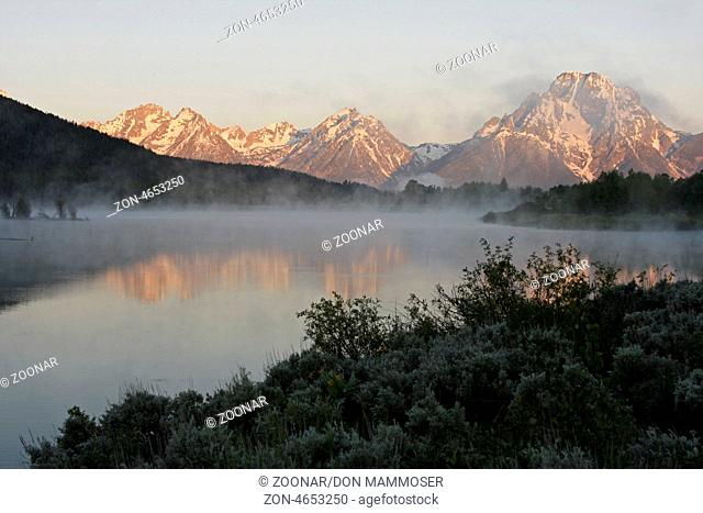 Mount Moran and oxbow bend, Grand Teton National Park, Wyoming, USA